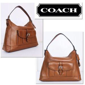 Coach Charlie Saddle Brown Leather Hobo Bag
